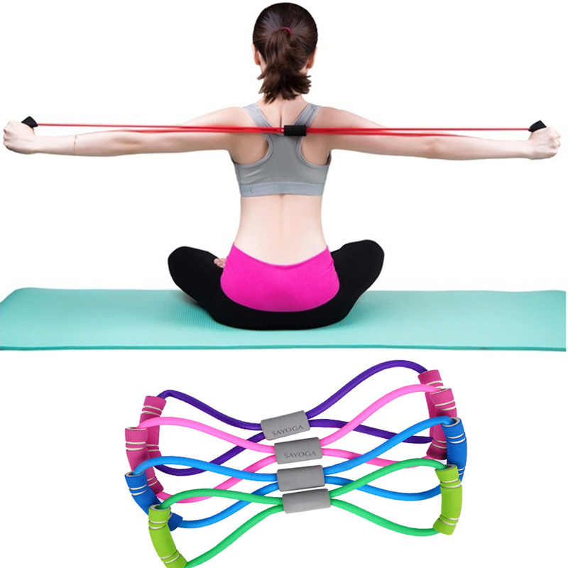 2019 Hot Yoga Gum Fitness Resistance 8 Word Chest Expander Rope Workout Muscle Fitness Rubber Elastic Bands for Sports Exercise6