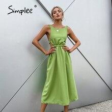 Simplee элегантное весеннее однотонное платье трапециевидной формы с открытой спиной женское Хлопковое платье с круглым вырезом и высокой тал...