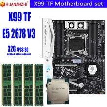Huananzhi x99 conjunto de placa-mãe, tf x99 com xeon e5 2678 v3 4 peças x 8gb = 32gb 1600 memória ecc reg ddr3 mhz 12800r, lga2011-3