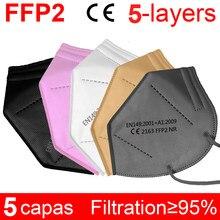 5-200 pièces FFP2 masque KN95 Bouche Masque fp2 noir et blanc PM2.5 95% filtre Bouche masque poussière normes de L'UE Envoie rapide