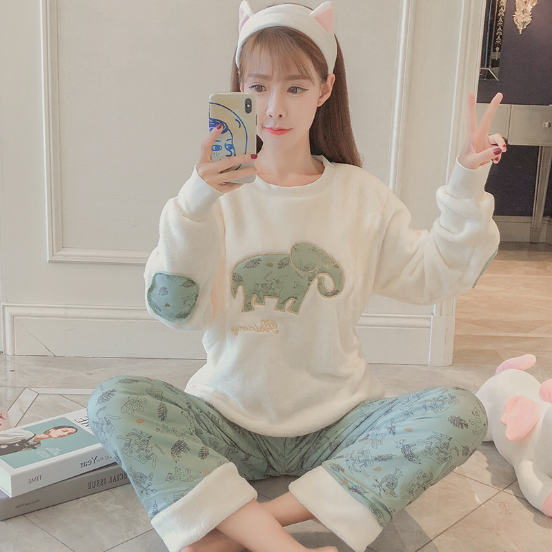 Pajamas Women's 280 Grams Coral Velvet Autumn & Winter Long Sleeve Plus-sized Increase The Fat Mm200 Catty Flannel Homewear Set