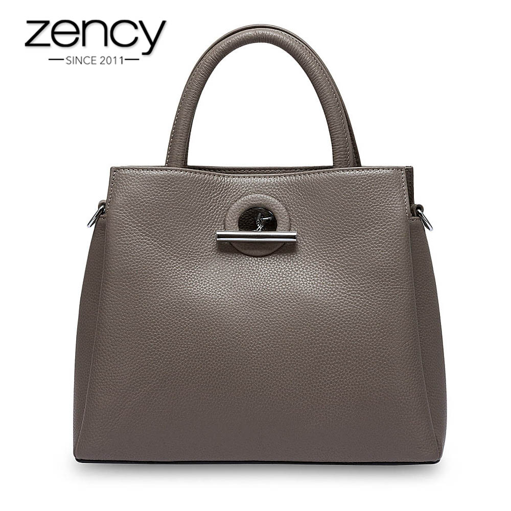 Zency Fashion Women Tote Bag 100% Genuine Leather Handbag Black Lady Crossbody Messenger Purse High Quality Shoulder Bags