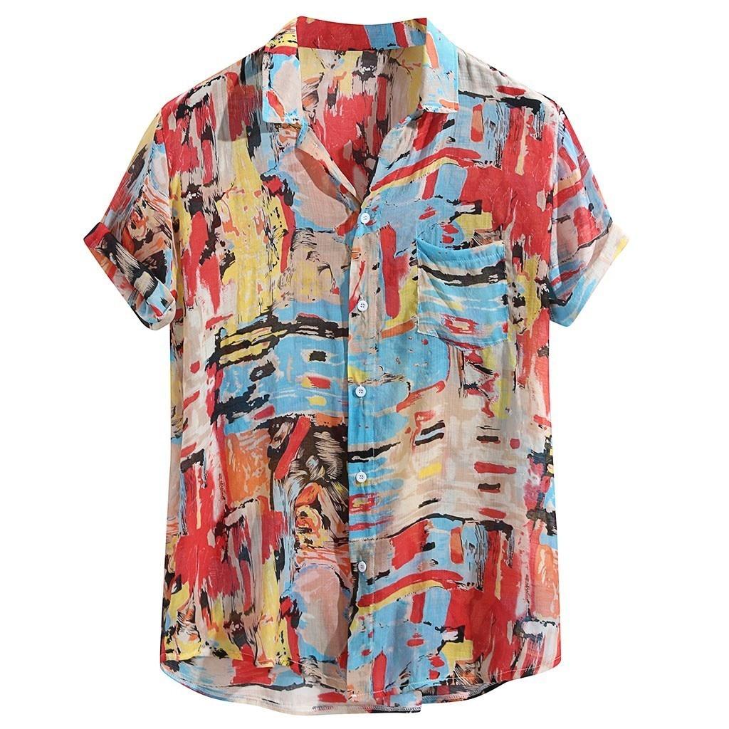 Men Hawaiian Shirt Male Casual Printed Beach Mens Breathable Colorful Printing Loose Turn Down Collar Short Sleeve  Shirt M-3XL