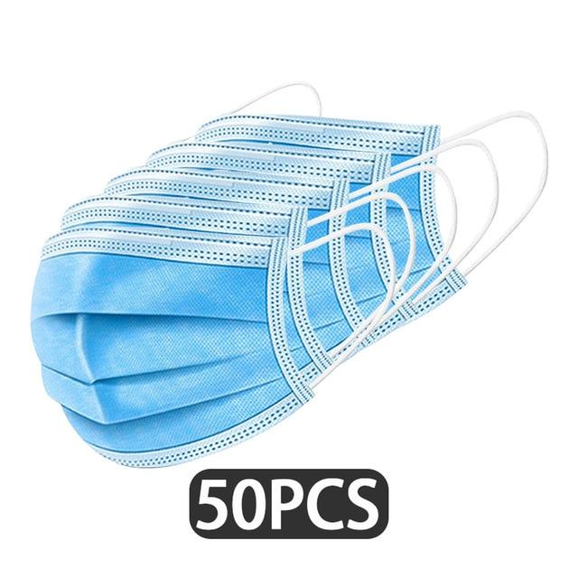 หน้ากากอนามัย 50ชิ้น สีฟ้า ใช้แล้วทิ้ง มีขายส่งยกลัง หน้ากากอนามัยผู้ใหญ่ นำเข้าจากประเทศจีน