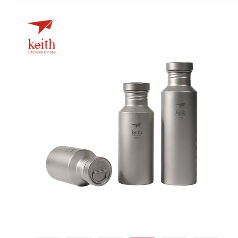 Keith Outdoor Titanium Portable kettle With Titanium Lids Drinkware Camping Ultralight Travel Water Bottles 400ml 550ml 700ml