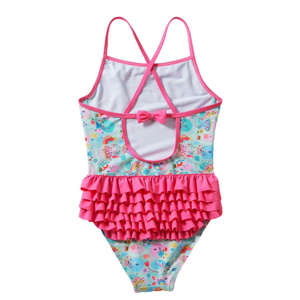 Pa Meng Childrenswear Cartoon Fish Printed Cross Camisole Wrinkle Flounced One-piece CHILDREN'S Swimsuit Tz410025