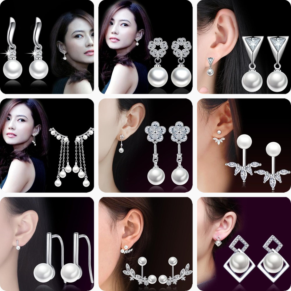 NEHZY 925 Sterling Silver Jewelry High Quality Woman Earrings Cubic Zirconia Imitation Pearl Retro Flower Bow Silver Earrings