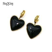 Latest Fashion Punk Style Lady's Gold Black Color Hook Drop Earring Cute Fashion Love Heart Earring Statement Earrings For Women(China)