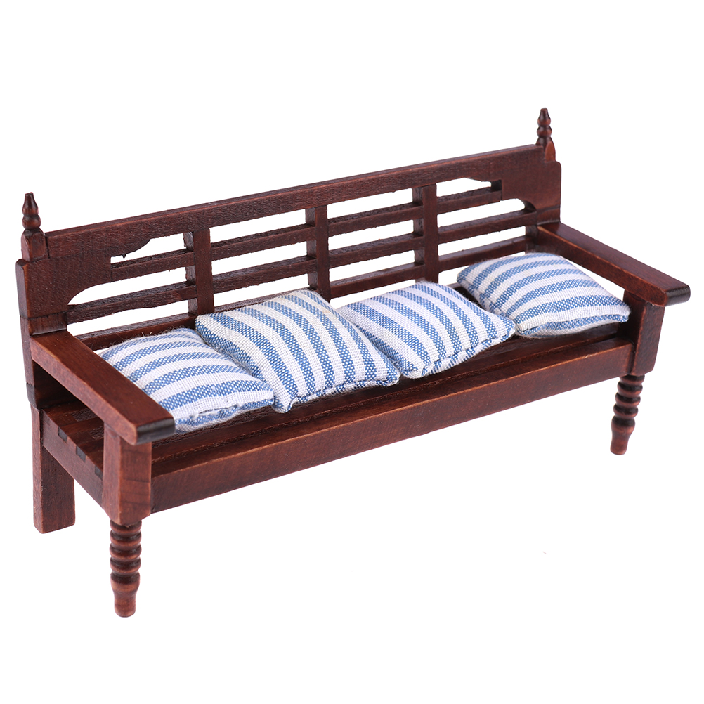 1:12 Miniature Furniture Doll House Wooden Sofa With 4 Pillows For Dolls Children Role Play Toy Dollhouse Miniature Furniture