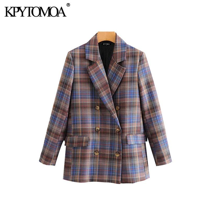 Vintage élégant Double boutonnage Plaid Blazer manteau femmes 2020 mode à manches longues poches tenue de bureau vêtements de dessus pour femmes Chic hauts