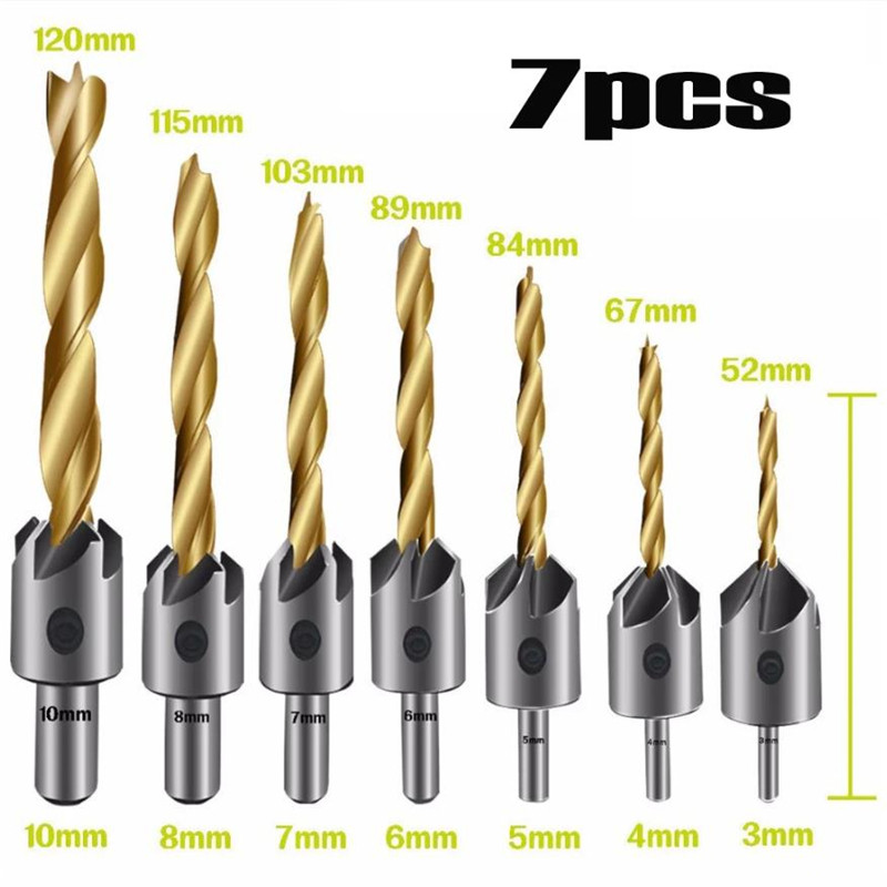 3-10mm Round Shank Titanium Coating HSS Countersink Drill Bit Carpentry Woodworking Chamfer Boring Tool With Hex L-wrench