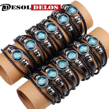 12pcs/lot 12 Constellation Mens Bracelets Handmade Zodiac Signs Bracelet beaded Charm Leather Punk Rock Men Jewelry