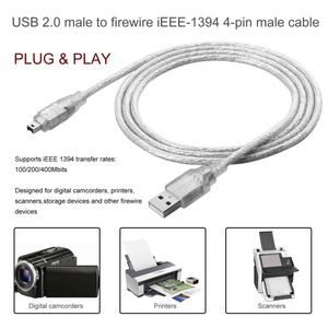 2019 New 1.2m USB 2.0 Male To Firewire iEEE 1394 4 Pin Male iLink Adapter Cable Male To Male Cable Silver & Transparent