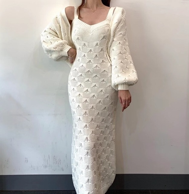 Chic Knitted Single-breasted Lantern Sleeve Cardigan Sweater with V Neck Sleeveless Sweater Dress 2 Piece Set 6