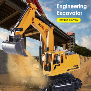 HuiNa 2.4G Toys 15 Channel 1/14 RC Excavator Charging RC Car With Battery RC Alloy Excavator RTR toys for birthday xmas gifts