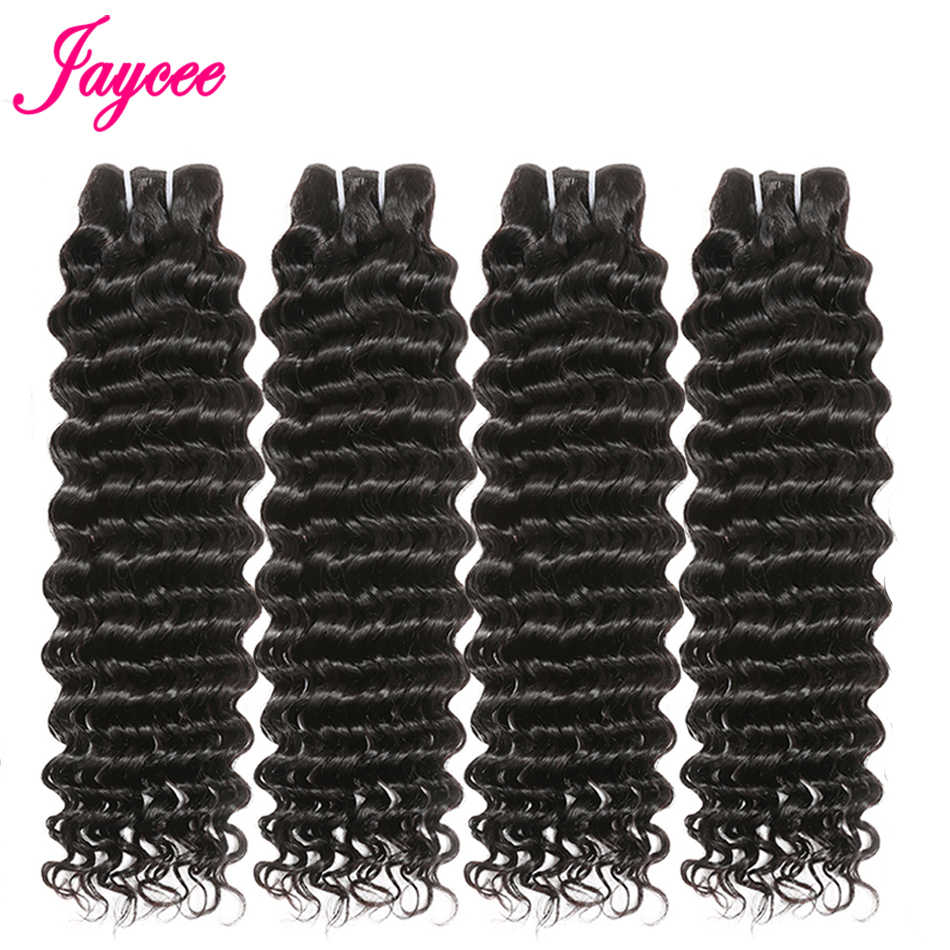 Jaycee de Malasia de la onda profunda del pelo 3 ofertas de paquetes de cabello humano extensiones de cabello rizado profundo malayo profundo pelo rizado que teje