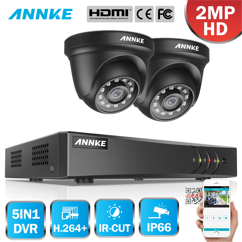 ANNKE 4CH 1080P CCTV Camera DVR System 2pcs Waterproof 2.0MP TVI Black Dome Cameras Home Video Surveillance Kit Motion Detection