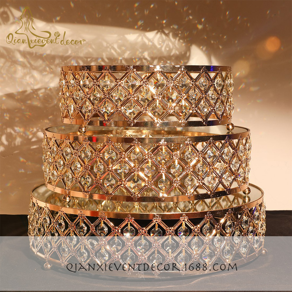 Golden crystal cake stand dessert table tray cake decoration decoration
