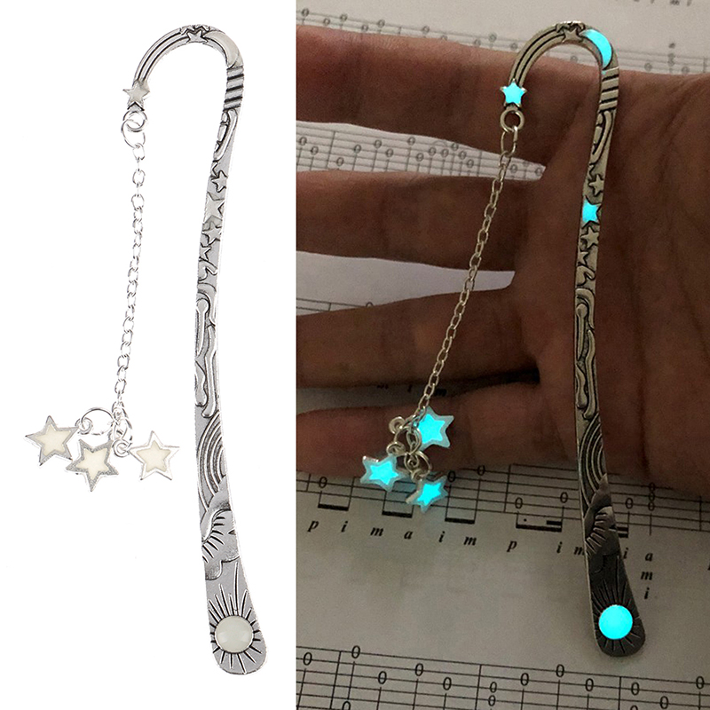 Luminous Creative Moon Stars Bookmark  Vintage Retro Metal Book Marks For Girls Gift  Novelty Stationery School Supplies