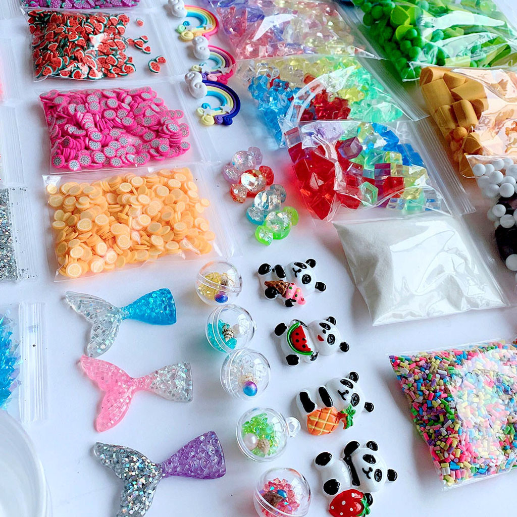 46 pçs slime suprimentos kit contas de espuma encantos bolas de isopor ferramentas para diy slime fazendo acessórios crianças brinquedos juguetes