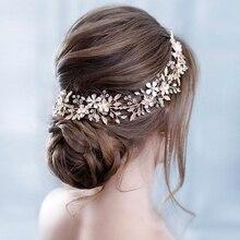 Trendy Bridal Flower Wedding Headband Silver Leaf Rhinestone Bride Headpiece Crystal Women Hairband Wedding Hair Accessories цена и фото