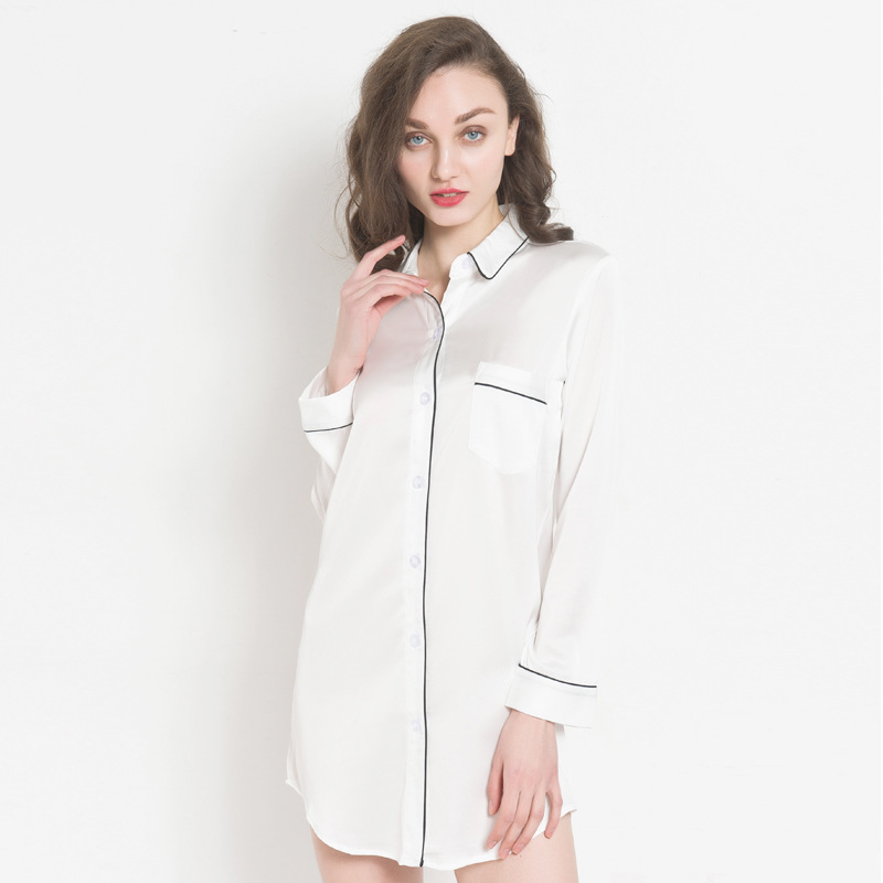 Women Sexy Short Nightwear Satin Silk Nightshirts Sleepwear Spaghetti Strap Sleepshirts Nightdress White Night Wear Dress Gown