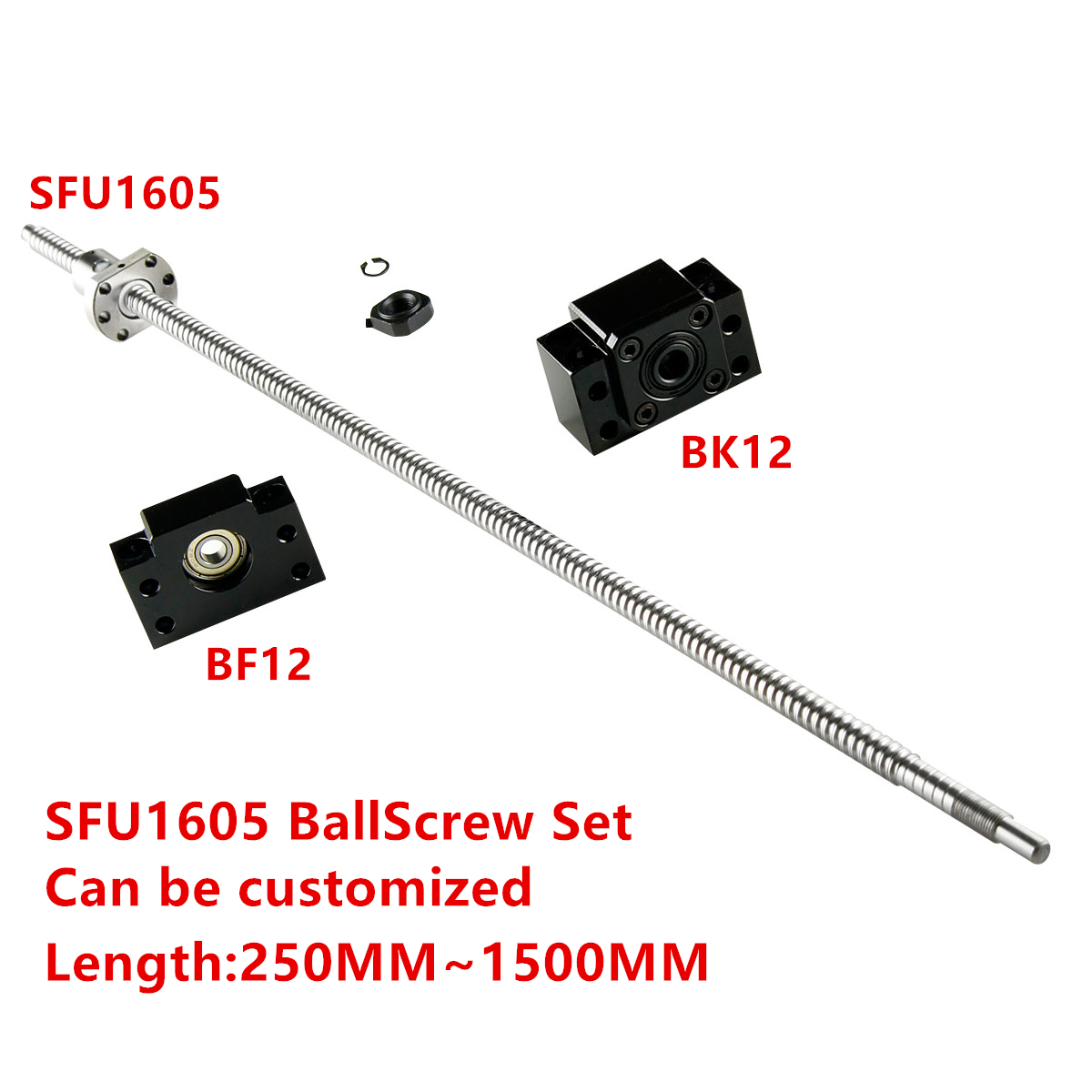 Vis à billes SFU1605-250 300 350 400 450 500 550 600 650 700 750 900 1000 Fin machine avec BK12/BF12 Support D'extrémité Supports de Roulement
