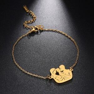 Рыболовный крючок для мамы, папы, сына и дочки, семейный подарок, золотой цвет для женщин, браслет с подвеской из нержавеющей стали, ювелирно...
