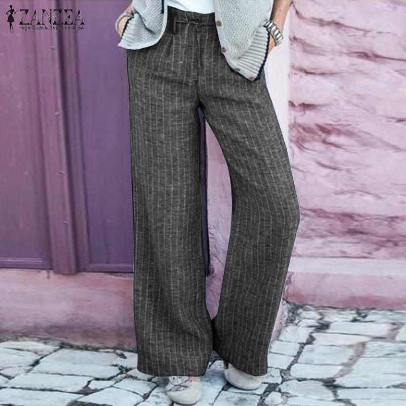 Fashion ZANZEA Women Striped Long Trousers Casual Wide Leg Pants Elegant High Waist Flare Pantalon Work OL Cotton Pants Femme 7