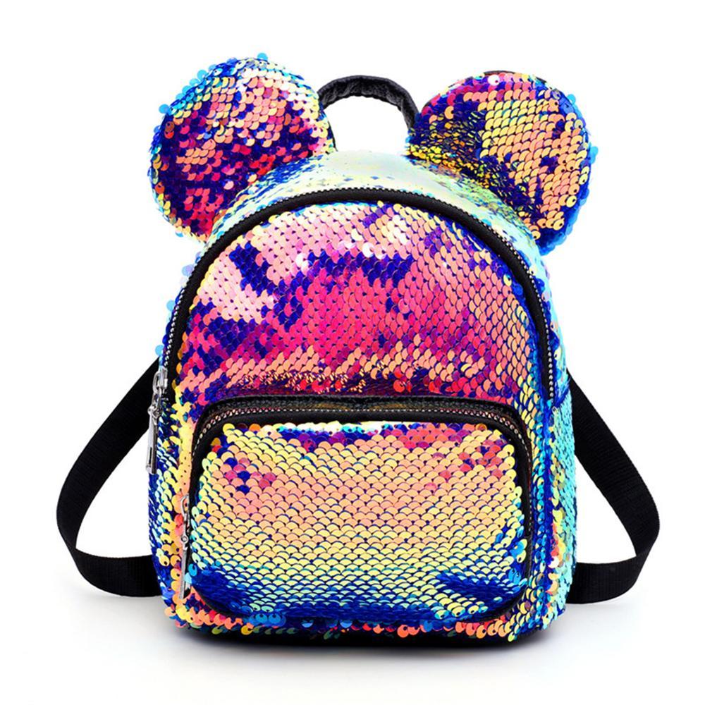 Bling Kids PU Mouse Ear Backpacks Women Sequin Color Student Schoolbag Kid Fashion Mini School Bag Women Travel Sequins Backpack