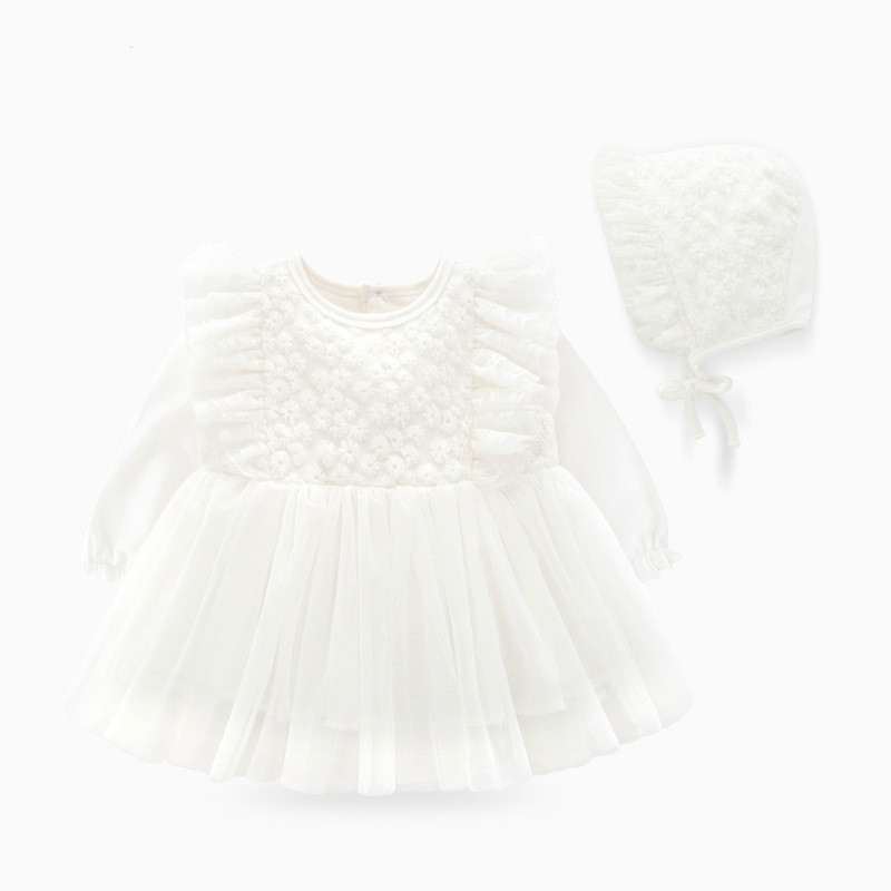 New Born Baby Girl Clothes Set Fall 2019 Long Sleeve Lace Cotton Baby Girl Dress for Baptism Birthday 0-3 Month robe bebe fille