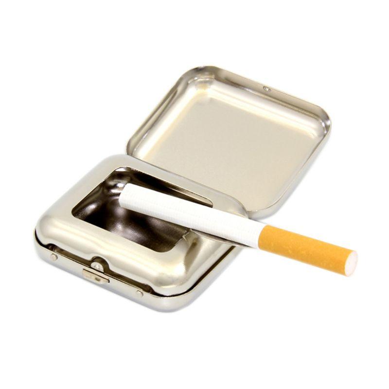 Stainless Steel Square Pocket Ashtray Metal Ash Tray Pocket Ashtrays With Lids Portable Ashtray