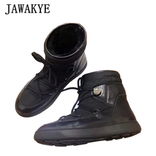 JAWAKYE Winter Snowboots Vrouwen Winter Schoenen zwart Leer lace up Warm Winter schoenen Dames Merk Enkel Botas(China)