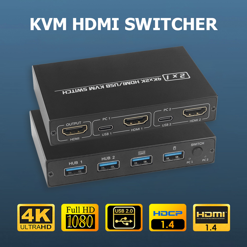 KVM-переключатель совместимый с HDMI, 2 порта, Поддержка компьютера, UHD 4K, офисные принадлежности для совместного использования монитора, клавиа...