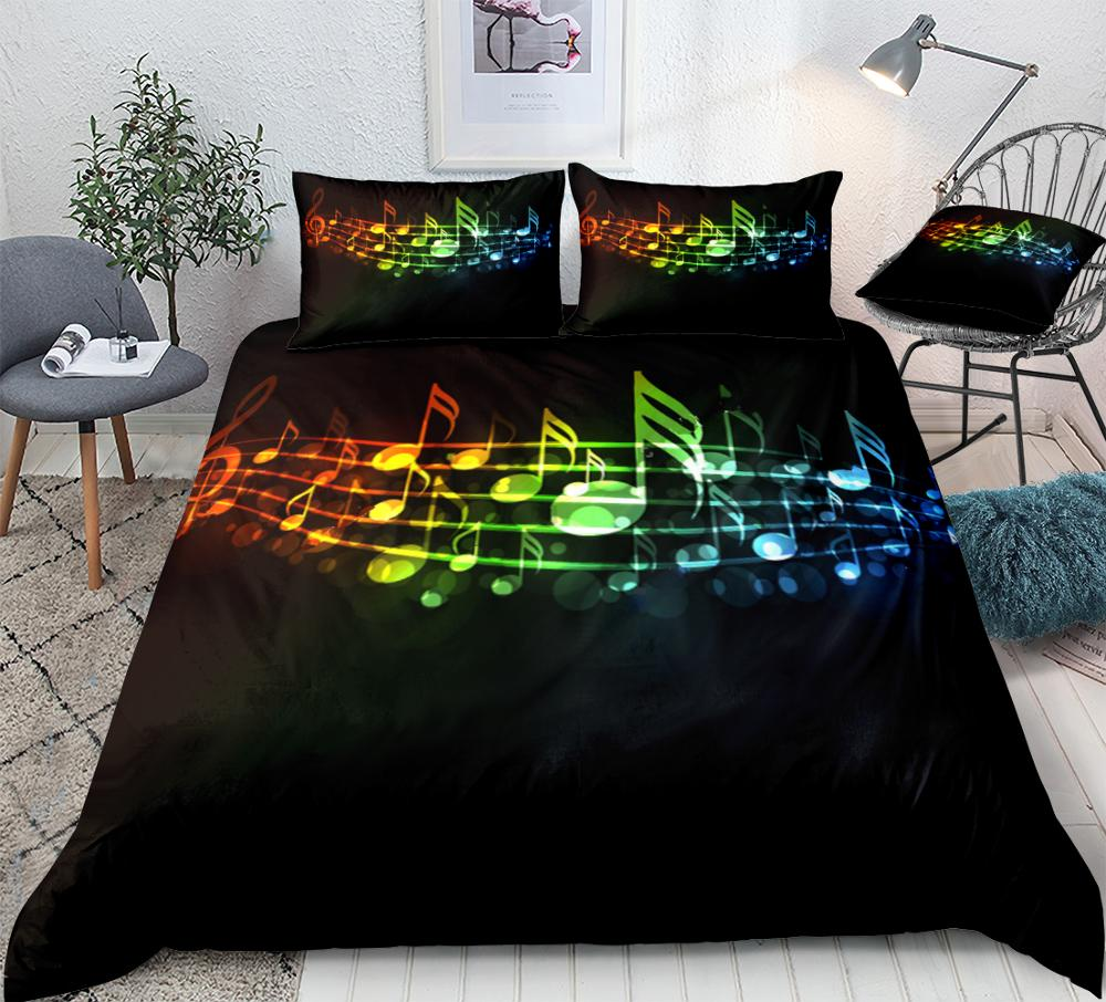 3 Pieces Music Duvet Cover Set Colorful Music Notes Bedding Piano Keyboard Treble Clef Black Home Textiles Kids Queen Dropship
