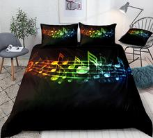 3 Pieces Music Duvet Cover Set Colorful Music Notes Bedding Piano Keyboard Treble Clef Black Home Textiles Kids Queen Dropship i brüll 3 piano pieces op 3