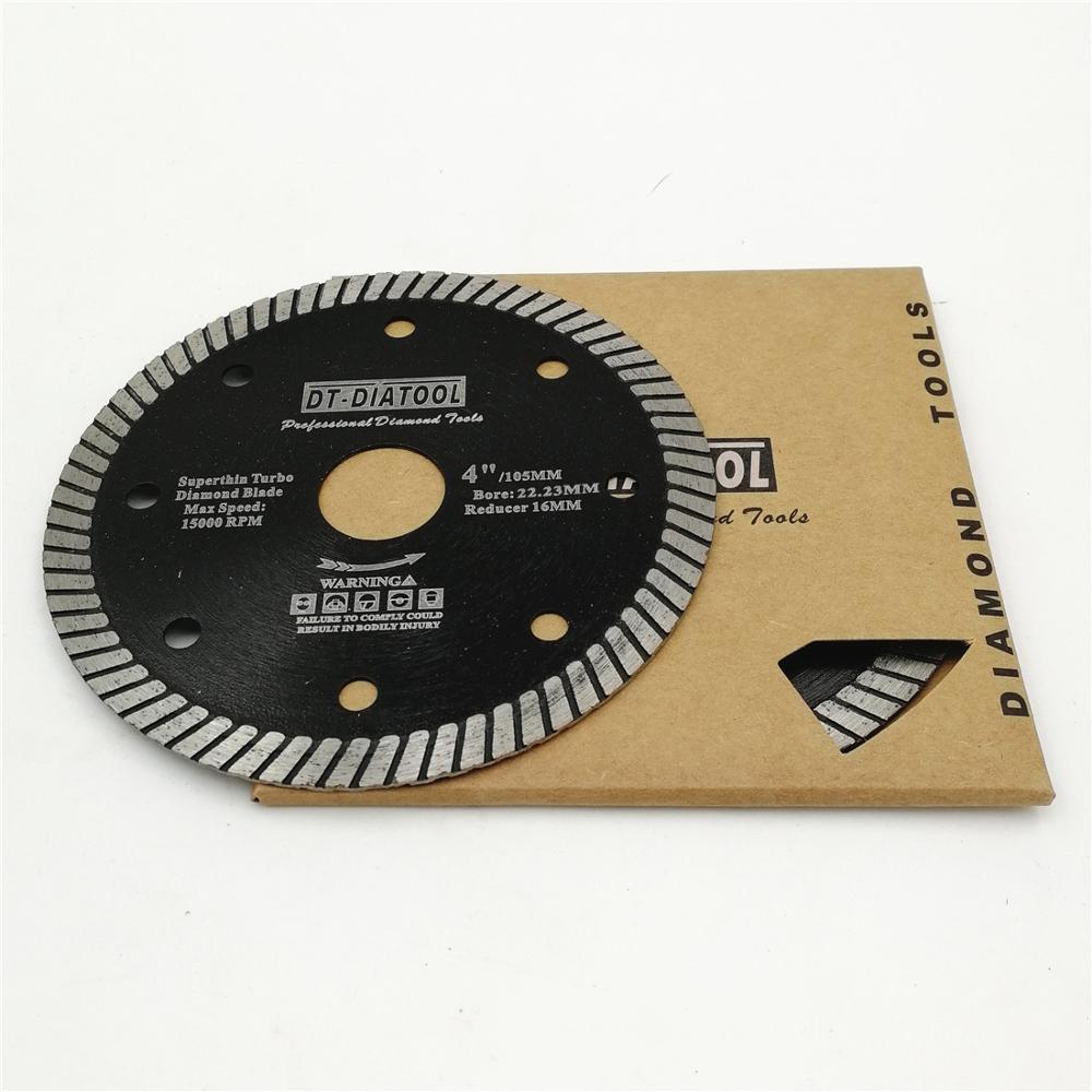 DT-DIATOOL 2 pièces/pk Dia 105mm/4 pouces diamant sec/humide Super mince lames de scie disque de coupe pour carrelage en céramique granit alésage 20mm/16MM