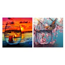 Peach Blossom 5D Diamond Painting Kits Full Drill Diamond Painting Wall Decoration Rhinestone Diamond Embroidery Paintings special design frame paintings peach blossom print 2pcs