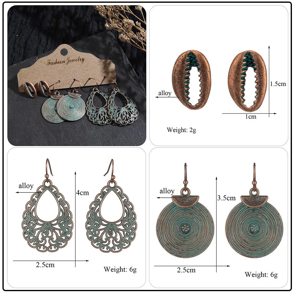 Bohemian Bronze Big Flowers Drop Earrings for Women 10 Style Vintage Leaf Metal Tassel Fringe Hanging Earring Females Jewelry (1)