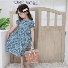 Y231 2020 summer girl sweet floral dress open back casual dress baby girl casual flower dress floral open back slit maxi cami dress