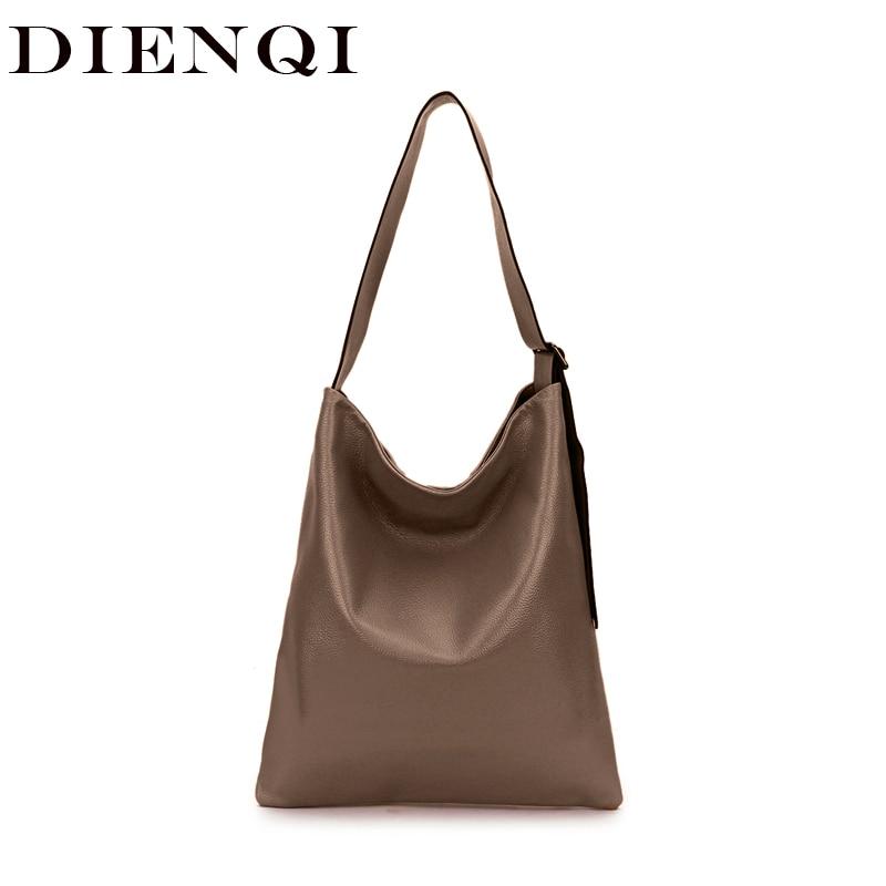 DIENQI Real Bag Ladies Genuine Leather Women's Handbags Shoulder Bag Messenger Bags For Women 2019 Big Ladies Hand Bags Satchel