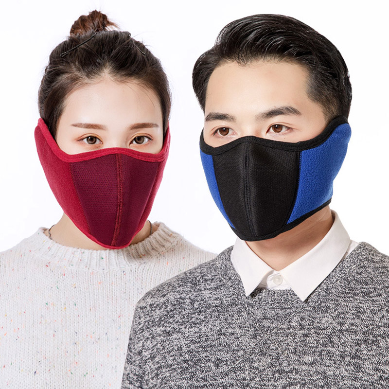 Winter New Riding Thick Warm Masks Mask Earmuffs Two In One Fleece Three-dimensional Interface Earmuffs