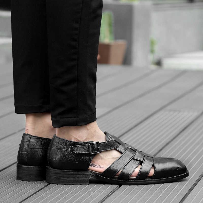 Wysokiej jakościowy duży rozmiar mężczyźni sandały sandały z prawdziwej skóry mężczyźni odkryte obuwie oddychające buty rybackie męskie buty plażowe