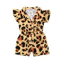 США, летняя одежда для маленьких девочек, леопардовый комбинезон с оборками, комбинезон, пляжный костюм