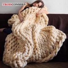 Couverture épaisse en laine mérinos, Plaid tricoté chaud pour canapé, fait à la main, à la mode