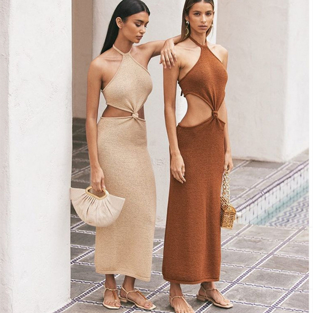 BOOFEENAA Sexy Vacation Outfits Knitted Halter Maxi Dresses for Women 2021 Elegant Dress Sets Holiday Beach Sundresses C76-CZ25 5