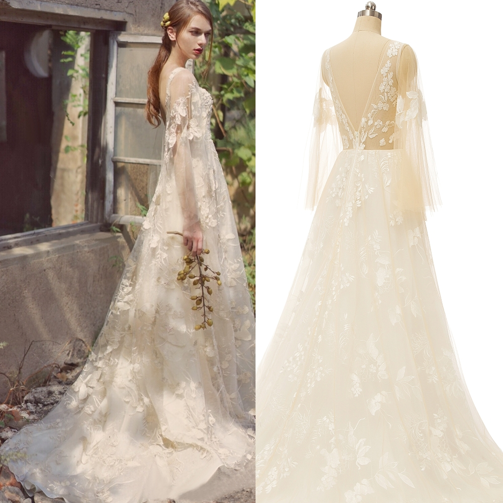 Backless Appliqued Illusion Sleeve A Line Outdoor Romantic Wedding Dress Bridal Gown