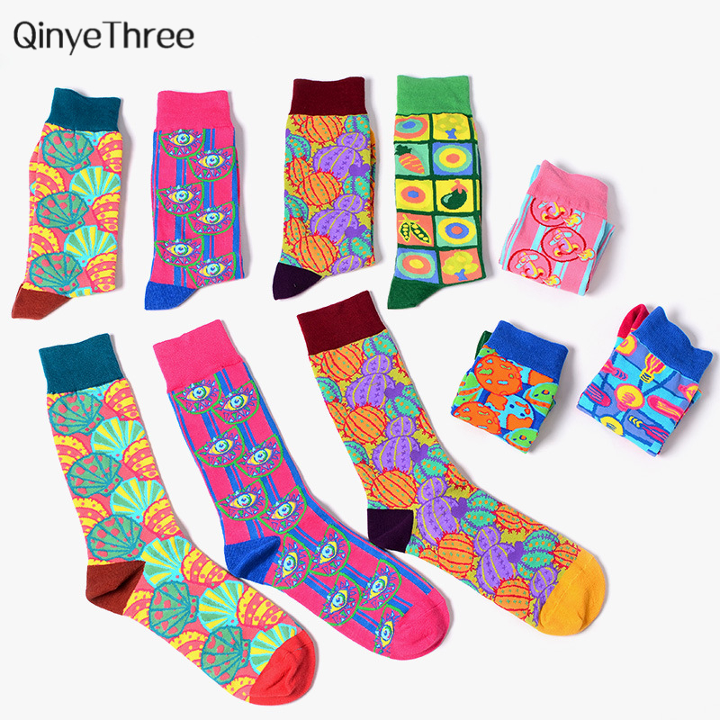 New Tide Men's Happy Socks Funny Poppy Psychedelic Illustration Series Sokken Color Pop Art Style Couples Hip Hop Punk Sox