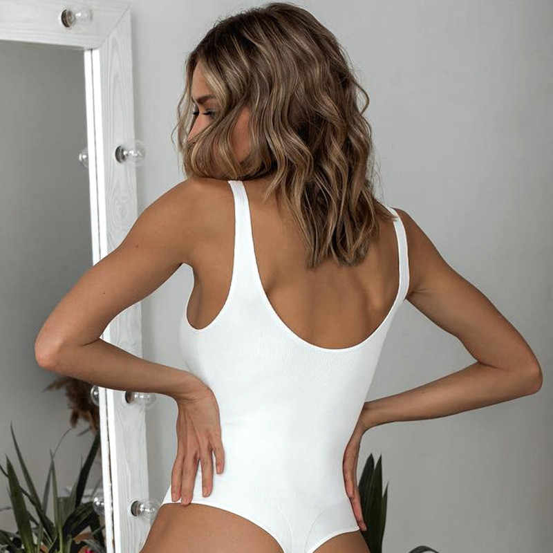 Weiß Strappy Body Sexy Backless Rippen Body Strampler string femme sexy Ärmellose Tank Top undurchsichtiges body Körper Weibliche
