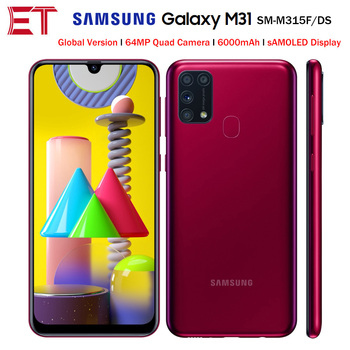 Перейти на Алиэкспресс и купить Смартфон Samsung Galaxy M31 M315F/DS, глобальная версия, мобильный телефон, 6 ГБ, 64 ГБ, Восьмиядерный процессор, 6,4 дюйма, 1080x2340P, 6000 мАч, 48 МП, NFC, Android 10